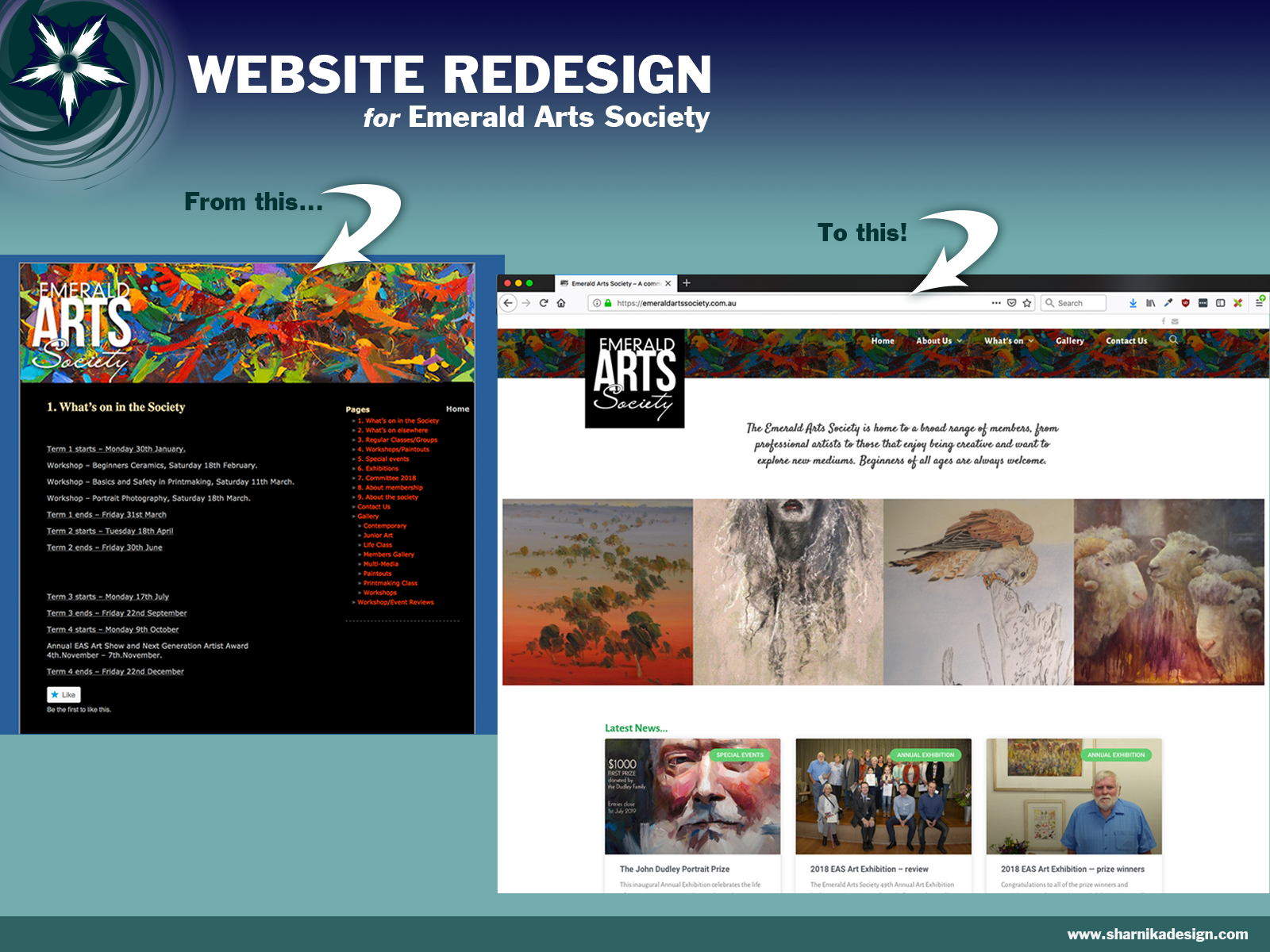 Website redesign for Emerald Arts Society
